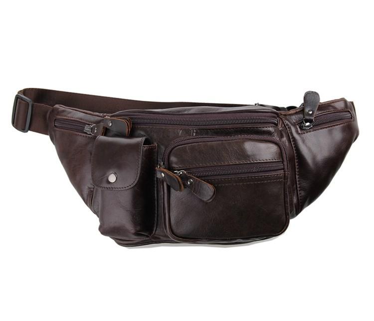 Vintage genuine leather waist packs fanny pack Fashion men small travel bag Pocket sports waist wallet  for men Free shipping (3)