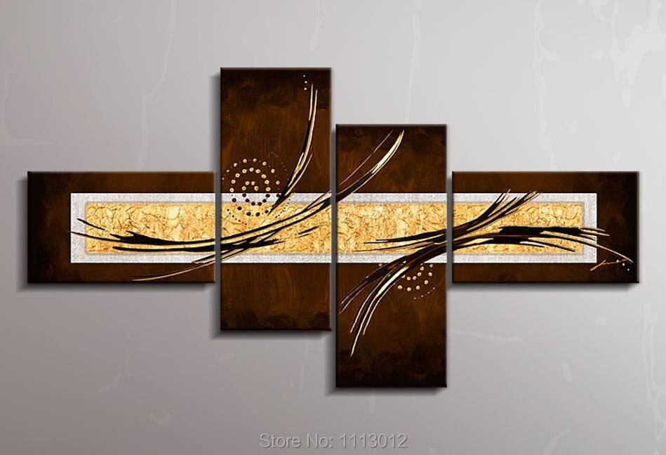 Высокое качество 4 Панель Книги по искусству Комплект коричневый современный Ножи Звезда линия цветок картина маслом на холсте Абстрактная...