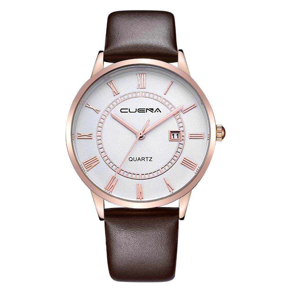 2017 new brand CUENA Fashion Men Casual Checkers Faux Leather Quartz Analog Wrist Watch temperament men