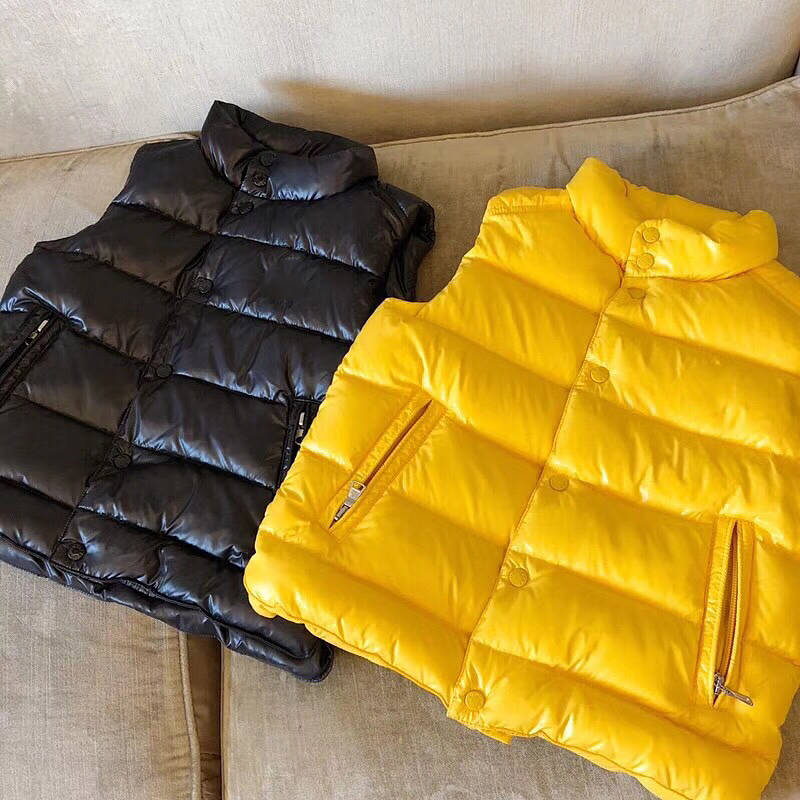 kid down jacket vest yellow black boys girls autumn warm down clothes in later September ruffled button down blouse in black