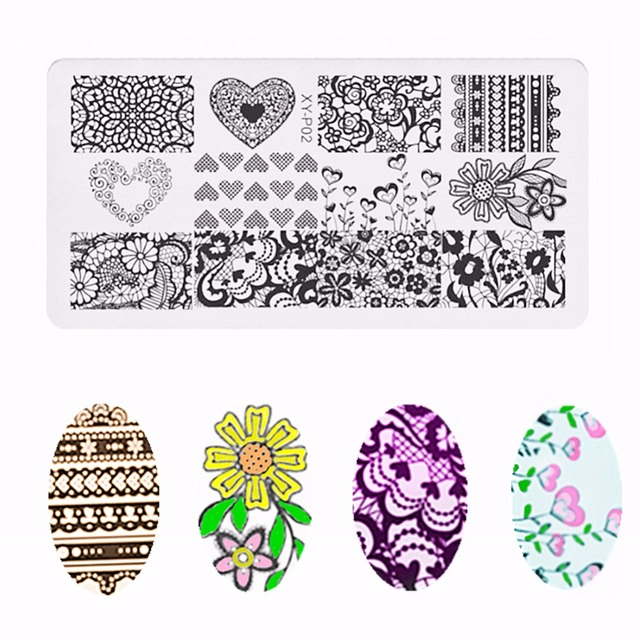 1pc template stamping plate heart flower lace rectangle image plate