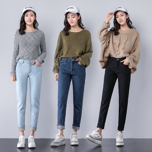 feacf9c0ef7 2018 New Female Velvet Thick Warm Jeans Women s High Waist Jeans Winter  Large Plus Size Cashmere Skinny Straight Pants Trousers