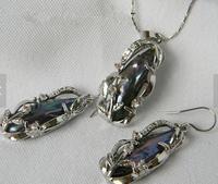 Идеальный Ювелирные изделия из жемчуга комплект хороший черный Бива пресноводного жемчуга Цепочки и ожерелья Серьги комплект
