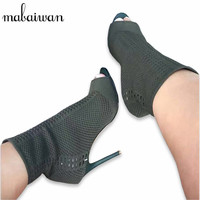 Mabaiwan ירוק בוהן ציוץ נשים מגפי קרסול סרוגים למתוח אישה נעלי העקב גבוה נעלי גרב נשים משאבות 9 ס