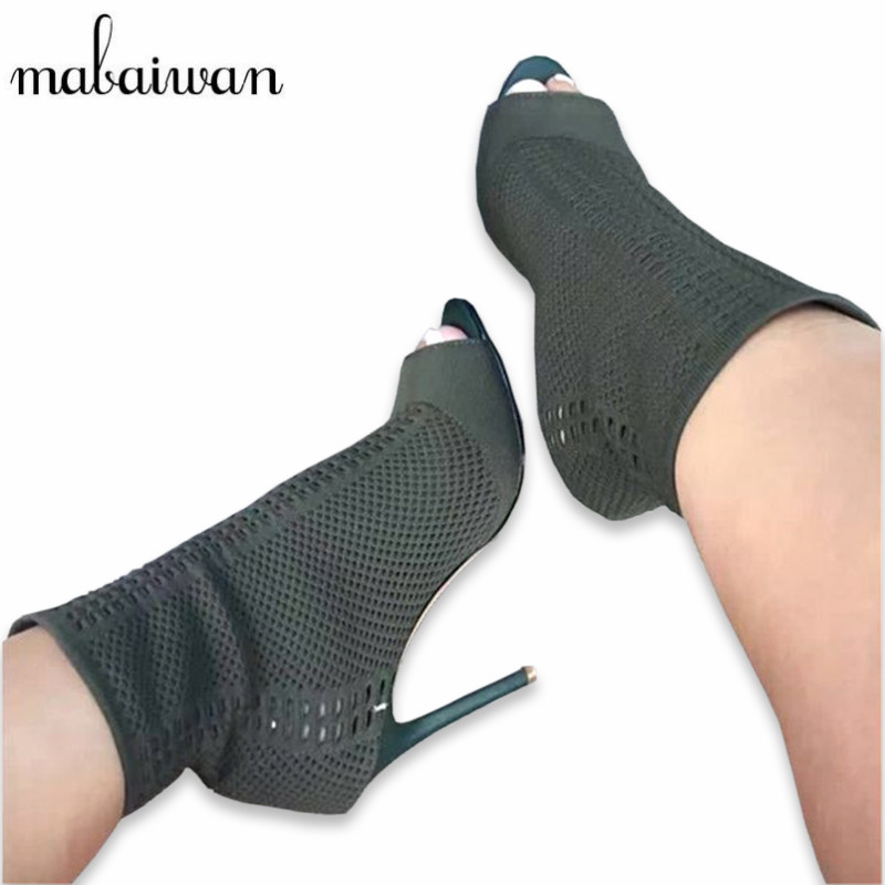 Mabaiwan Green Knitted Ankle Boots Women Stretch Peep Toe Sock Booties Women Pumps 9CM High Heel Shoes Woman Botines Mujer green peep toe women summer boots high heel ankle botas mujer lace up women pumps botines mujer slingbacks shoes woman