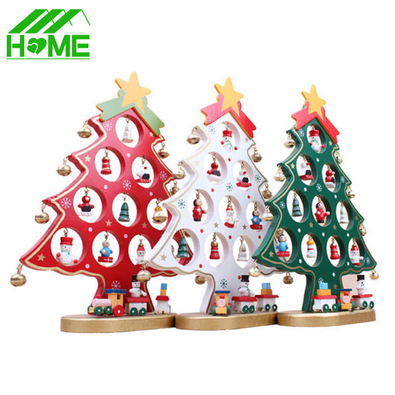 1pc DIY Cartoon Wooden Artificial Christmas Tree Decorations Ornaments Wood Mini Christmas Trees Gift Ornament Table Decoration