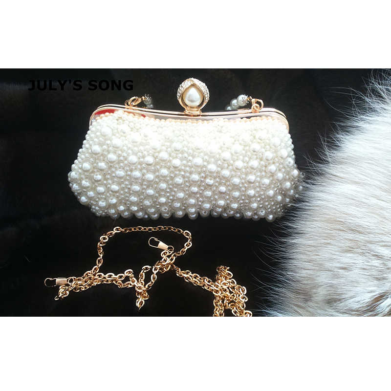 ... JULY S SONG Women Bead Bag Pearl White Shell Messenger Bags Luxury Bead  Handbag Evening Clutch Bag ... 78e924b8c487