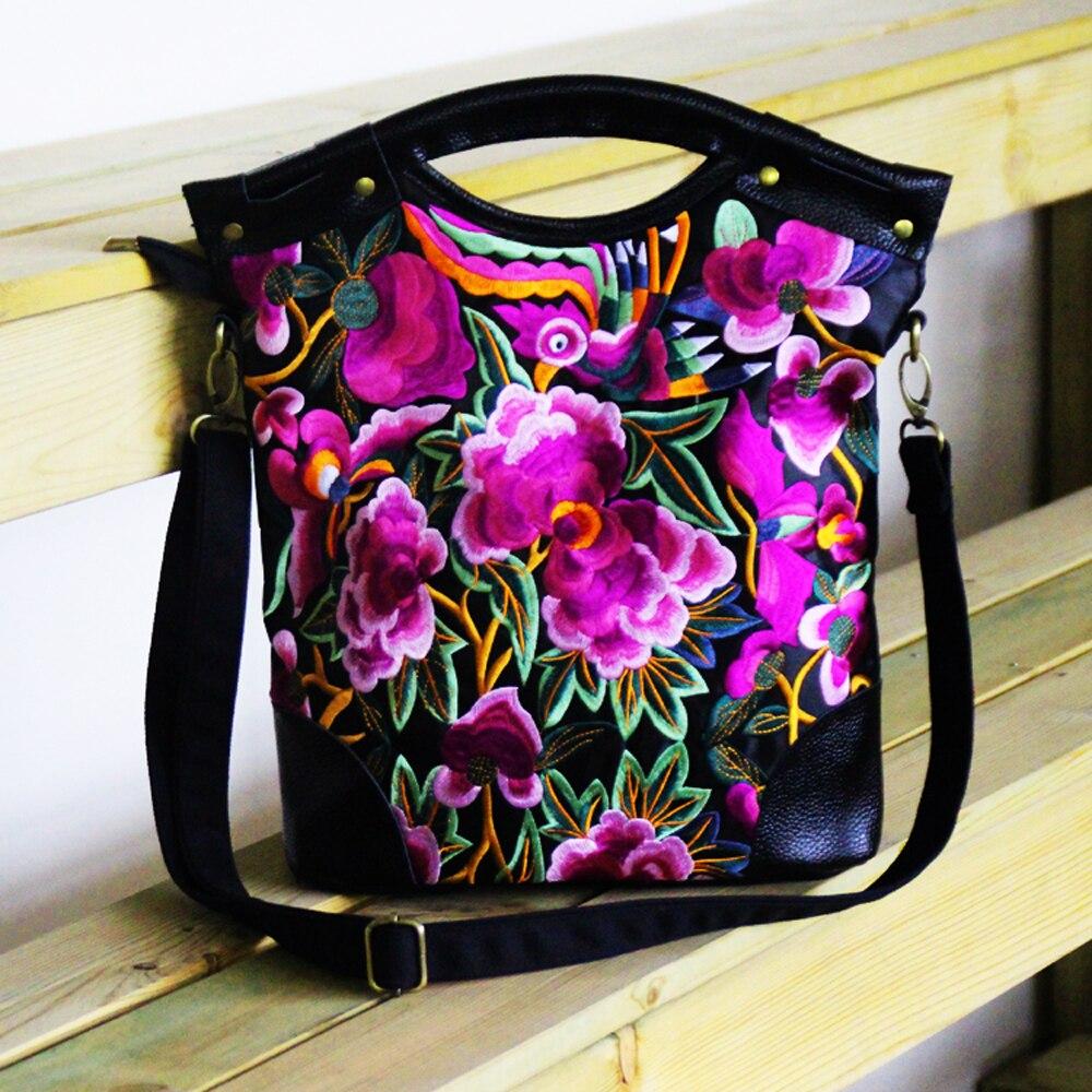 2020 Women Handbag New National Casual Floral Embroidery Totes Ladies Black Genuine Leather Messenger Bag Bolsas Femininas