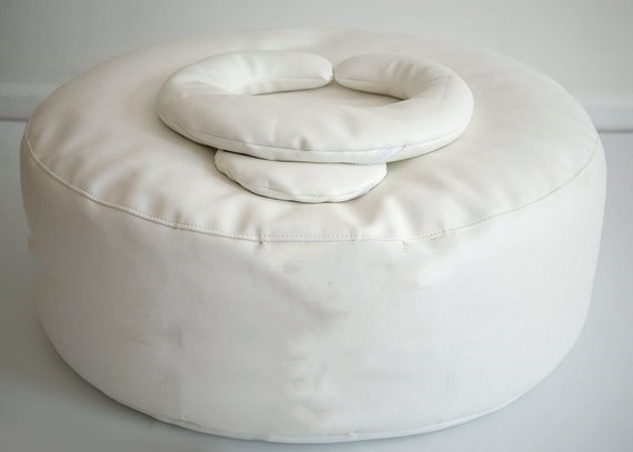 Newborn BeanBag Ottoman Round Pillow 33x10inch White Newborn Photography Posing Pillow Infant Bean Bag Positioner Poser