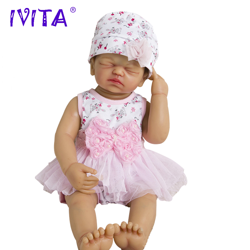 IVITA 22 Inches Silicone Reborn Babies Realistic Metal Skeleton Artificial Soft Lifelike Root Hair Silicone Baby Dolls For Sale aisi hair 33 22 inches