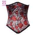 Red Floral Embroidery Brocade Sexy Waist Trainer 24 Steel Boned Underbust Corset Corselet Corpete Espartilho Gothic Clothing
