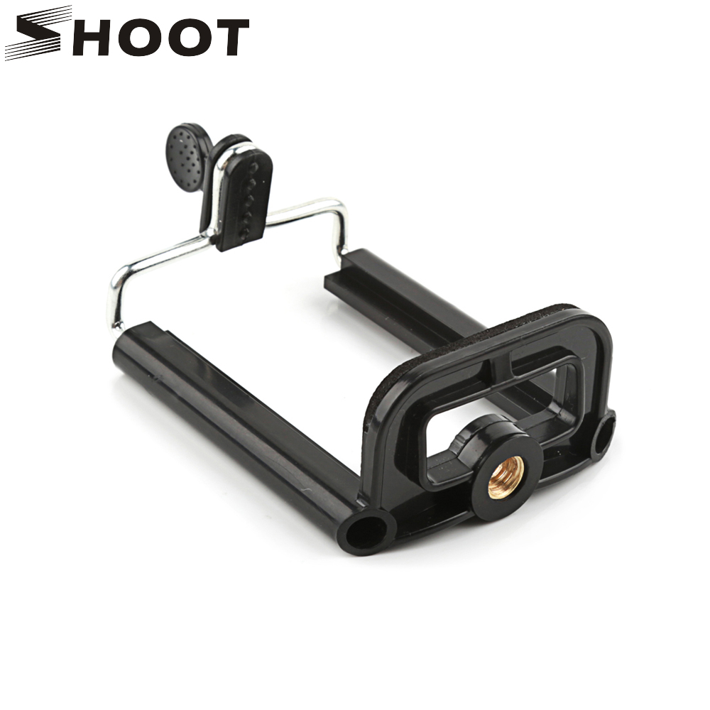 SHOOT Black Phone Holder Tripod for Phone Tripod Stand with 1/4 inch Nut Screw Hole Selfie Stick Phone Clip Camera Accessories