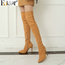 цены на Eokkar 2020 Women Over The Knee High Boots Super Thin High Heel Pointed Toe Winter Boots Warm Inside Ladies Boots Size 34-43  в интернет-магазинах