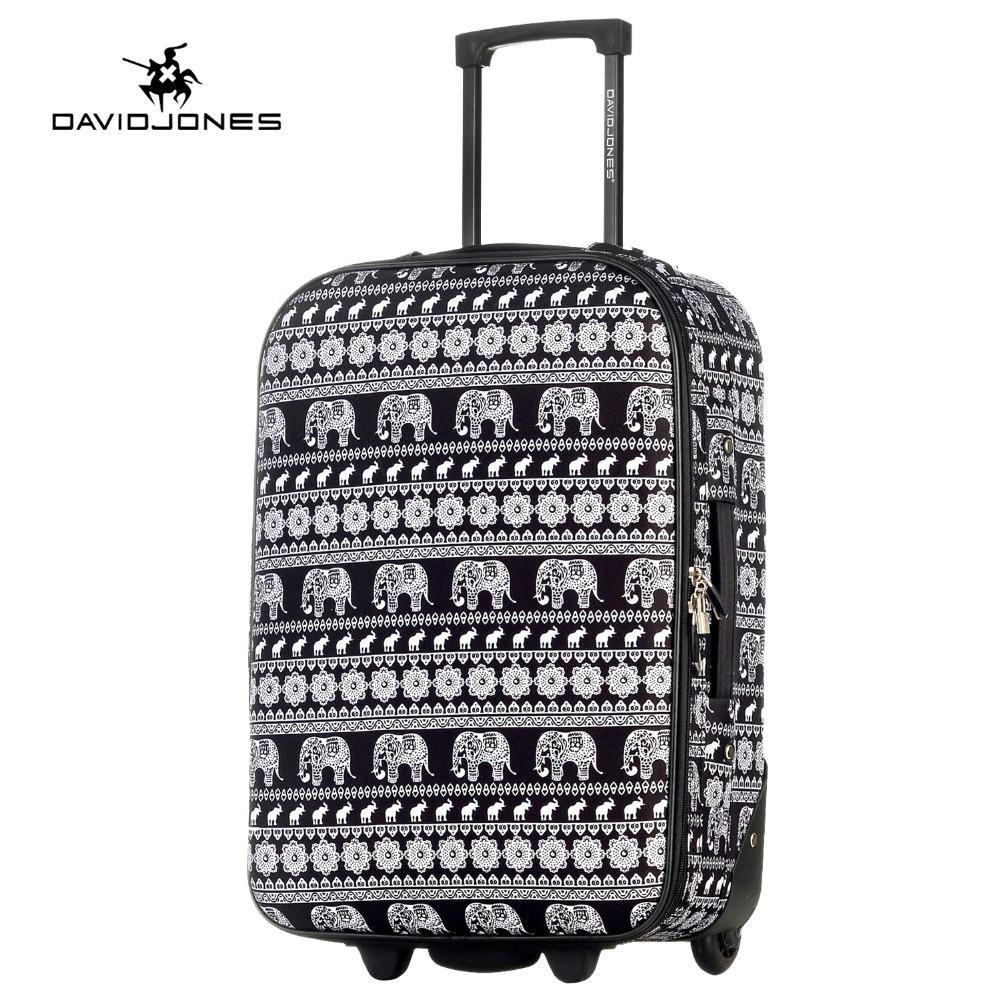 DAVIDJONES 20 inches carry on luggage fixed wheels cabin suitcase vintage trolly