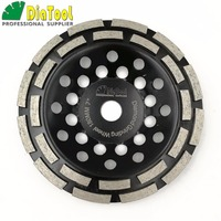 DIATOOL 7 180MM Diamond Double Row Grinding Cup Wheel 7 Inch Twin Row Grinding Disc