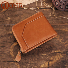 JOYIR Genuine Leather Mens Wallet Card Holder Casual Zipper Small Wallet Male Man Purse Short Coin Purse RFID Wallets For Men