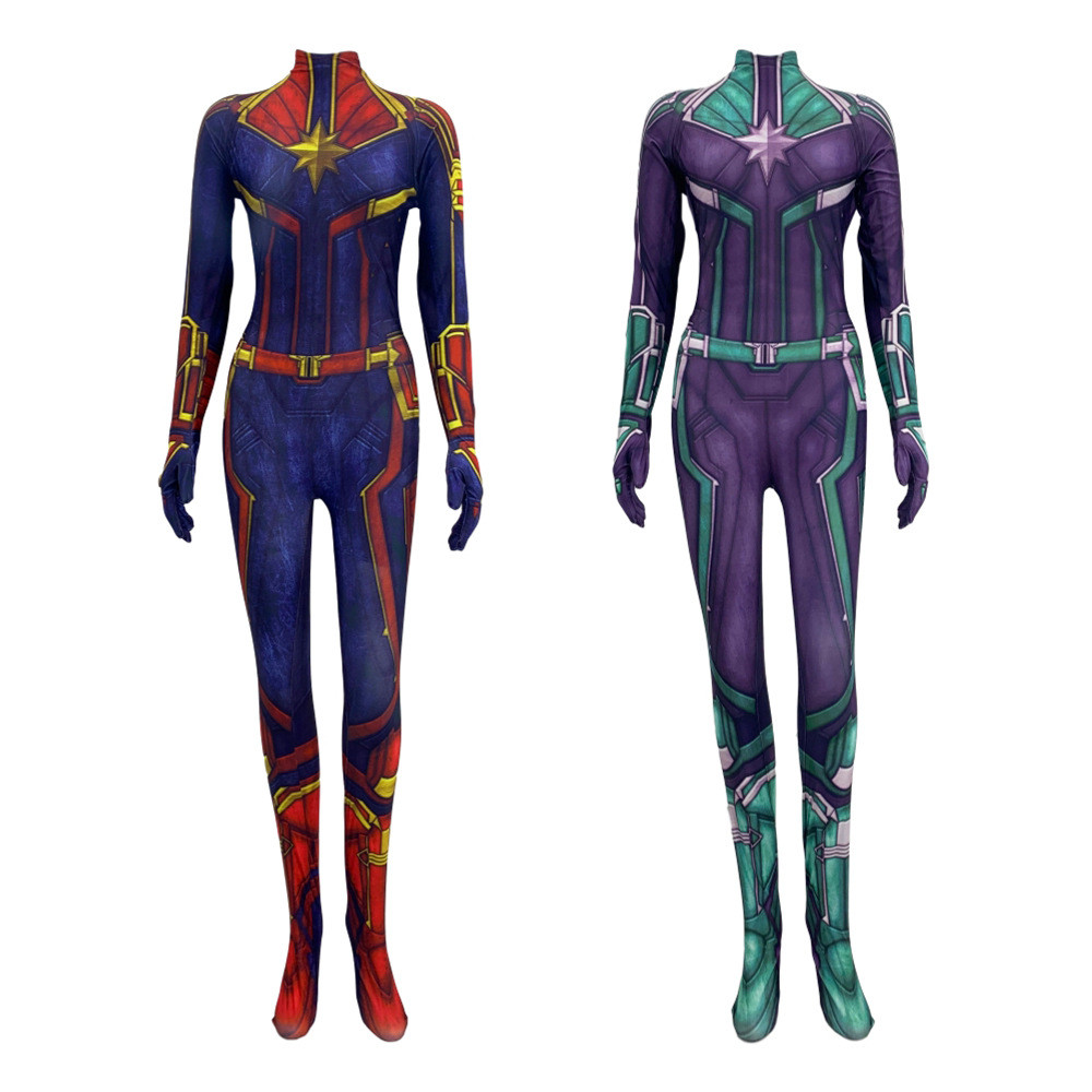 Women Girls Movie Captain Marvel Carol Danvers Cosplay Costume Zentai Bodysuit Jumpsuits Costume for adult and kids