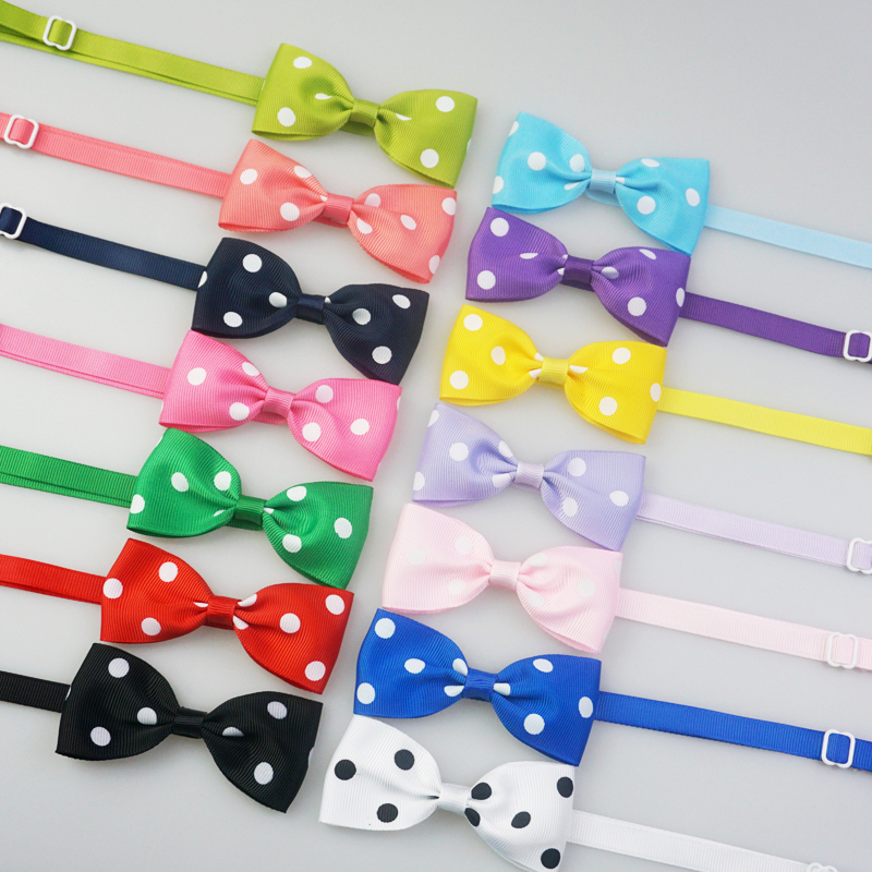 Handmade Dots Pattern Ribbon Dog Bow Ties Cute Puppy Small Dogs Cats Ties For Collar Pet Grooming Accessories 14 Colors
