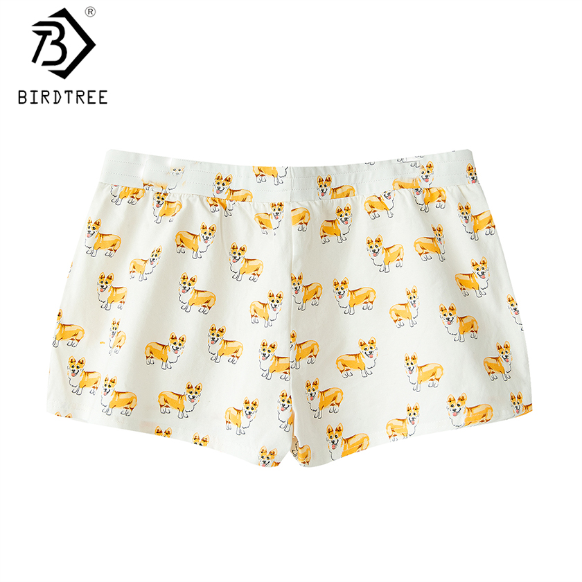 2017 Women's Cute Corgi Cartoon Print Casual Shorts Loose Lounge White Elastic Waist Stretchy Cotton Plus Size B79502J