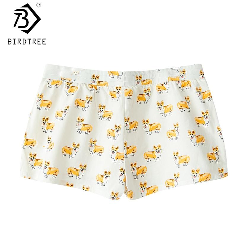 Damen-nachtwäsche 2019 Frauen Nette Corgi Cartoon Print Casual Shorts Lose Lounge Weiß Elastische Taille Stretchy Baumwolle Plus Größe B79502j Schlafhosen