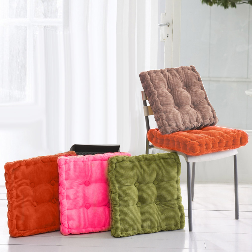 Thicken Corduroy Elastic Soft Chair Cushions Kitchen Seat Cushion Square Floor Pad Solid Color