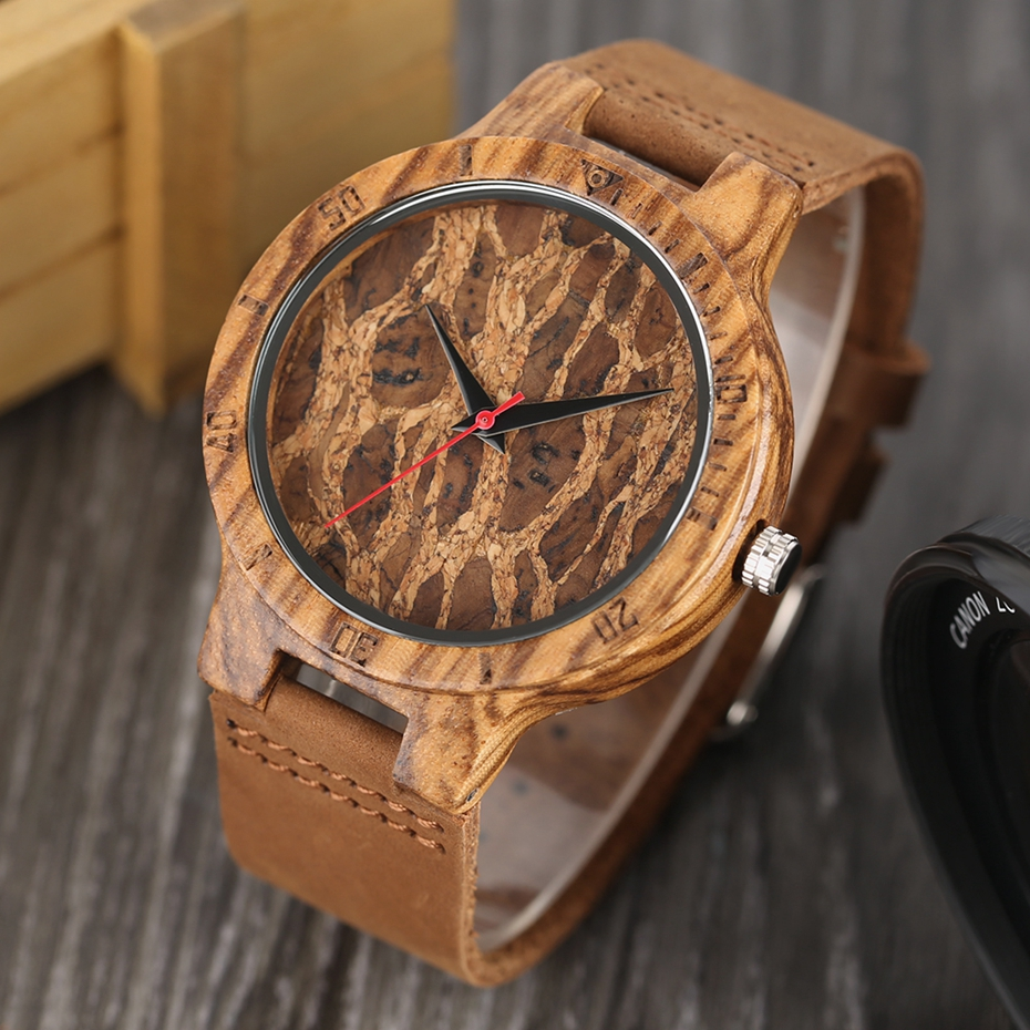 Creative Simple Wood Watches Men's ZebraCork SlagBroken Leaves Face Wrist Watch Original Wooden Bamboo Male Clock Relogio 2017 2018 Christmas Gifts (8)