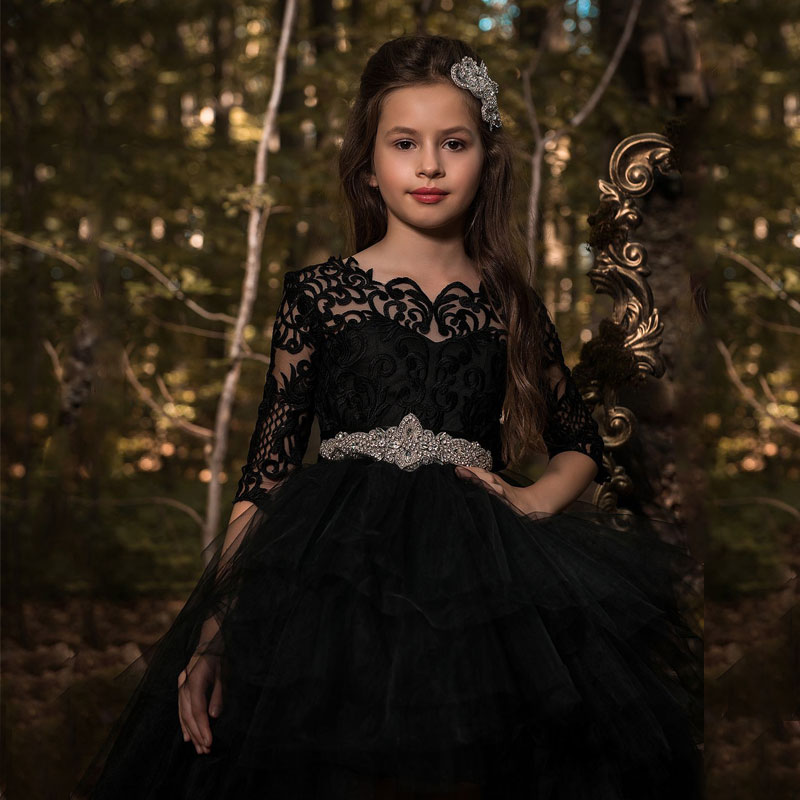 Fashion Black Hi-lo Long Sleeves Girs Pageant Ball Gowns with Train Lace Appliques V Back Style Kids Prom Dress with Rhinestones