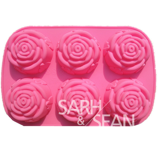 3D B032 rose flower DIY Silicone cake mold Chocolate mould ice soap Fondant Sugarcraft Cake Tools Cookie Decorating - Sarh Home store