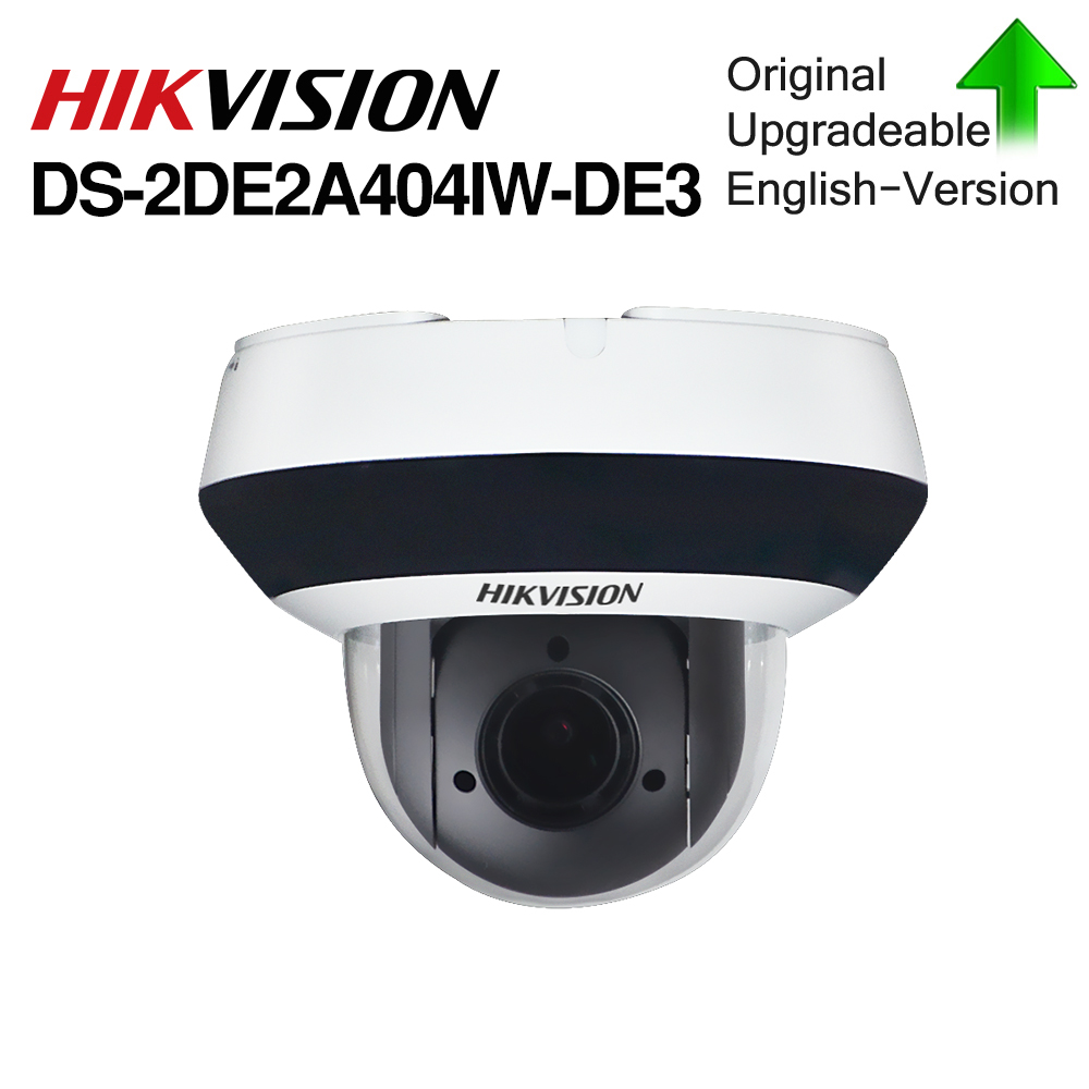 Câmera PTZ IP Hikvision Original DS-2DE2A404IW-DE3 4MP 4X 2.8-12MM zoom POE Rede H.265 IK10 ROI WDR DNR CCTV da abóbada da Câmera PTZ