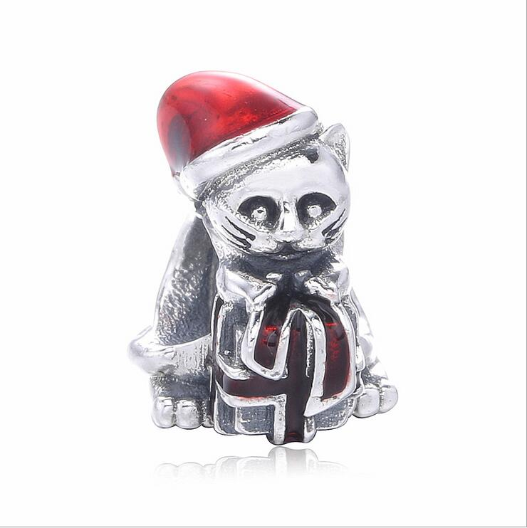 High Quality 925 Sterling Silve Charm beads Fits Pandora Bracelets DIY Jewelry  making red enamel Kitten gift box accessorie