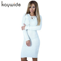 DICLOUD 2018 Spring Women Dresses Series New Arrival V Neck Long Sleeve Lace Up Tunic Casual