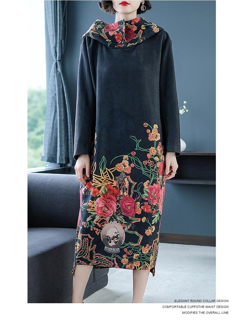 Vintage Floral Robe Automne Embro Moulin Belle Hiver Lâche Femmes Traditionnel Imprimé M xxl Dame Vêtements Chinois Élégante AzwfRq