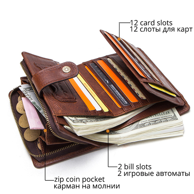 CONTACT'S genuine leather RFID vintage wallet men with coin pocket short wallets small zipper walet with card holders man purse 2