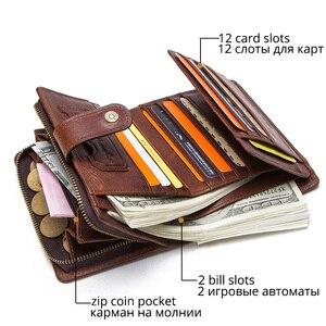 Image 3 - CONTACTS Da Thật Chính Hãng Da RFID Vintage Ví Nam Với Đồng Tiền Túi Ngắn Ví Khóa Kéo Nhỏ Walet Với Ngăn Đựng Thẻ Người Ví