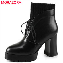 MORAZORA Cow leather boots top quality womens boots