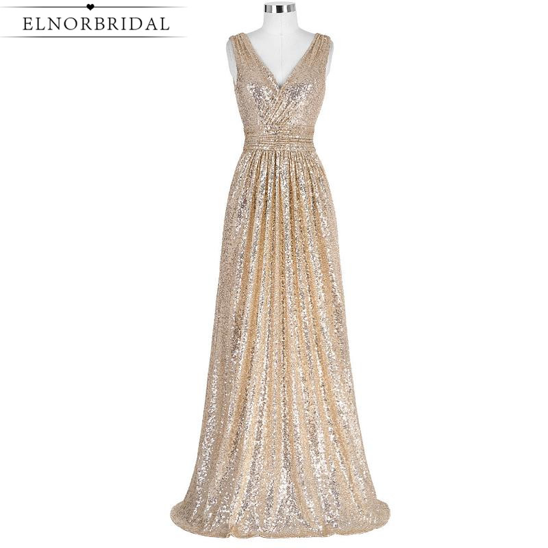 Elnorbridal Real Photo Champagne Sequins   Bridesmaid     Dresses   Long 2019 Maid Of Honor   Dress   Weddings Party Gowns Robe Longue