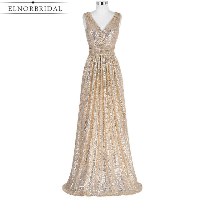 Elnorbridal Real Photo Champagner Pailletten Brautjungfernkleider ...
