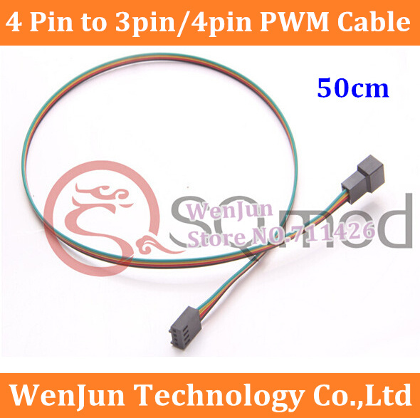 Free Shipping 4 Pin to 3pin 4pin PWM Convert Connector Extension Cable 50cm PC Computer Cooling
