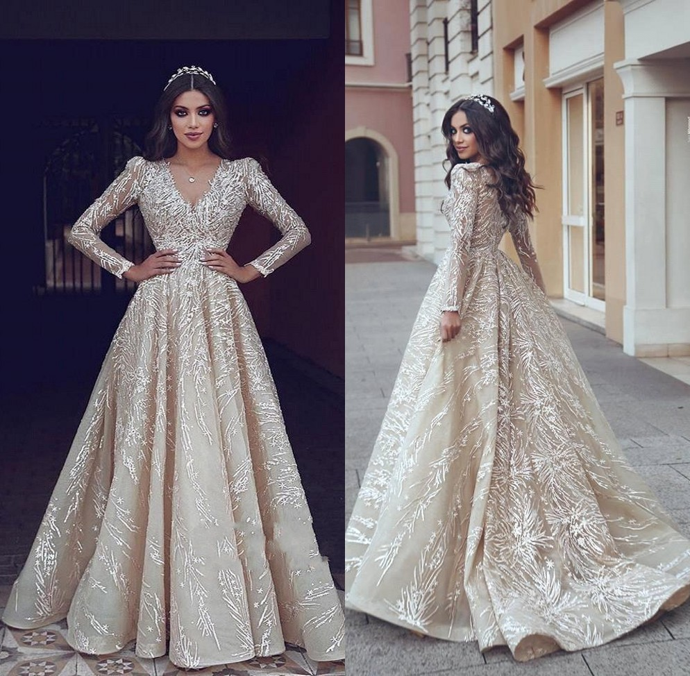 Wedding Gown With Neck Detail: Vestidos De Novia Luxury Long Sleeve Wedding Dresses 2019