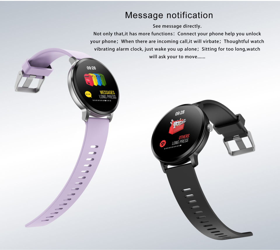 Sport watch smart tempered glass, waterproof, Android IOS Display