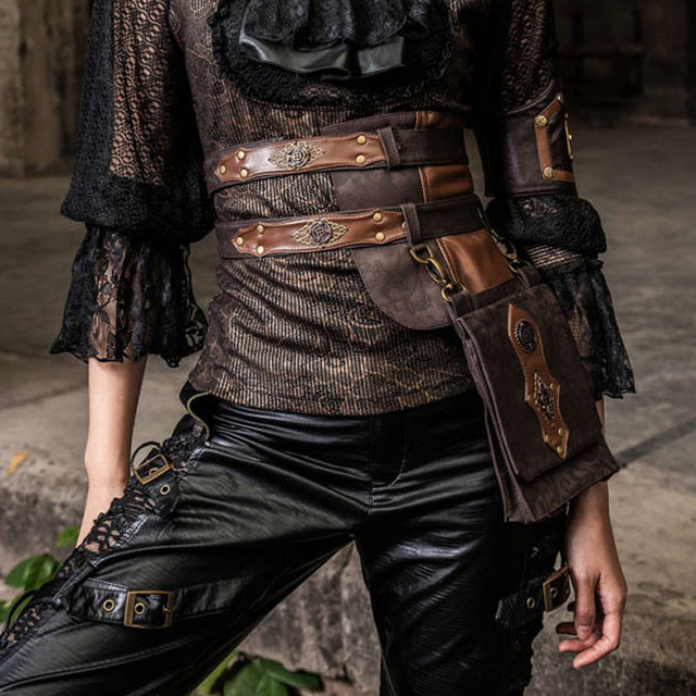 Vintage Brown Brocade & PU Leather Waist Belt Steampunk Bag Punk Motorcycle Knight Bag Cosplay Gothic Corsets Costume Accessorie