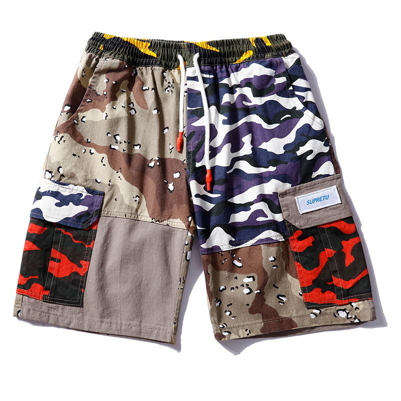 Hip Hop Patchwork Camo Cargo Short Mens Color Pockets Sweat Shorts 2018 Streetwear Elastic Waist Jogges Sweatpants Men Clothes