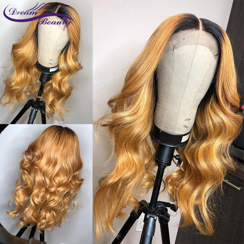 Honey Blonde Human Hair Wig With Baby Hair Preplucked Glueless Lace Front Wig wavy Remy Hair 180 Desnity Lace wigs Dream Beauty(China)