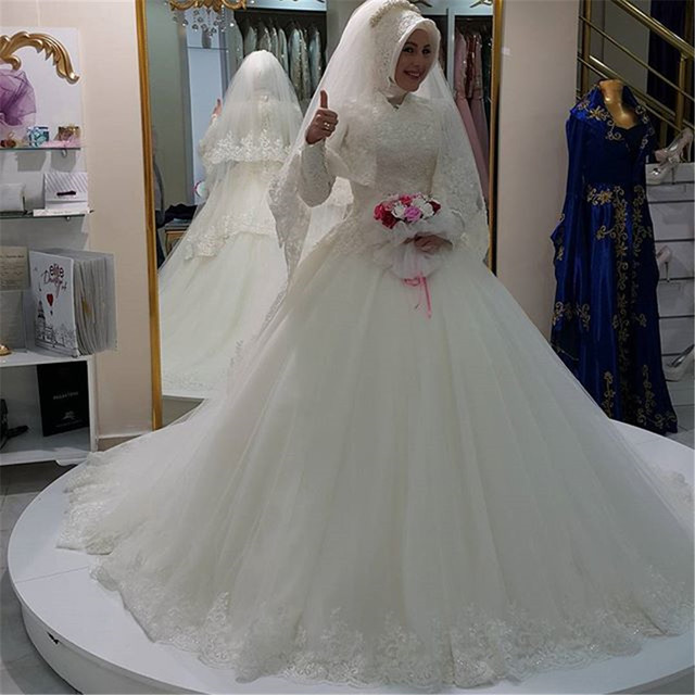 Modest Design 2017 Muslim Wedding Dresses High Neck Long Sleeve Ball Gown Lace Tulle Bridal Gowns