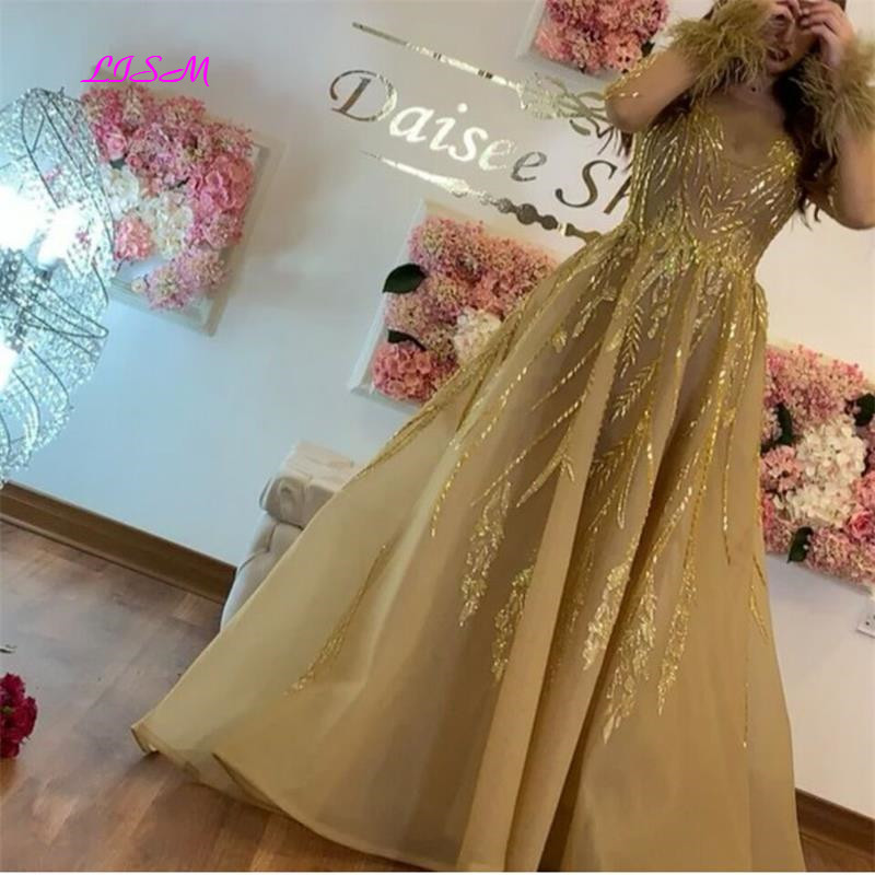 Luxury Crystal Long Sleeve Evening Dresses O Neck Tulle Formal Party Gown 2019 New Vintage Gold Dubai Prom Dress vestidos largos in Evening Dresses from Weddings Events