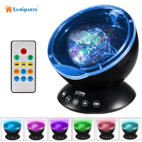 Lumiparty Remote Control Ocean Wave Projector 12 LED 7 Colors Night Light With Mini Music Player