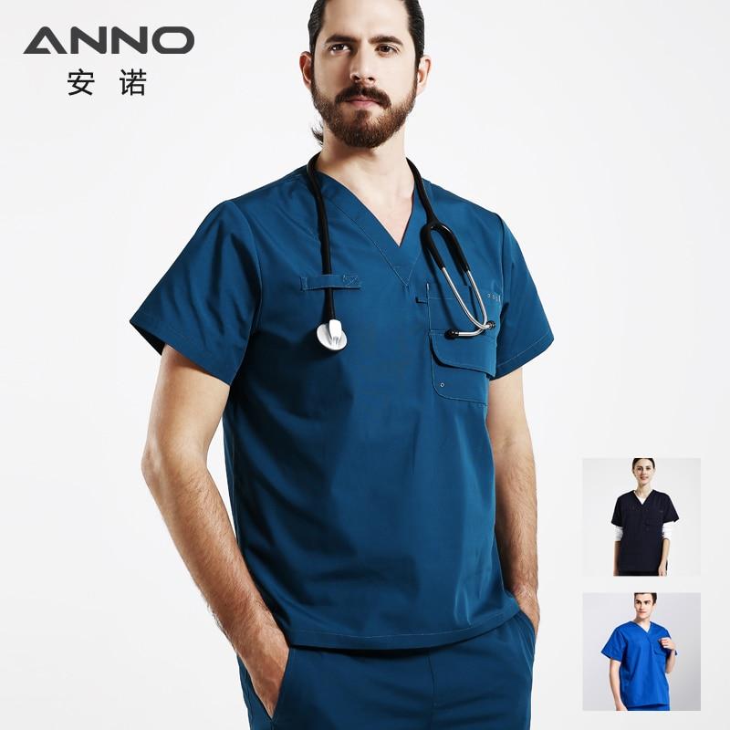 ANNO médica, Dental Batas para mujer y hombre manga corta médico ropa uniforme de enfermera diseños Hospital conjunto cirugía traje