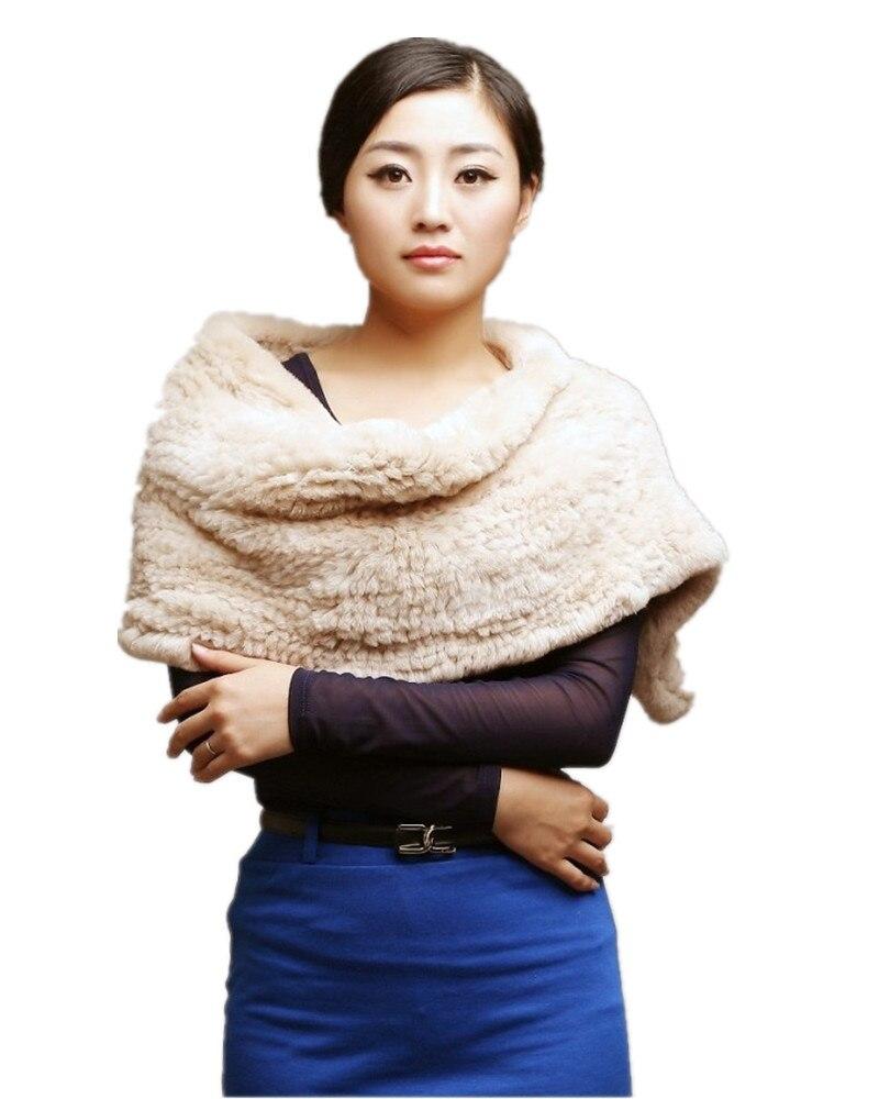 Echte Rex Kaninchen Pelz Schal Hand Strick Fashion Warm Wraps Für Frauen, Weiß Grau Süße Herbst Winter K263