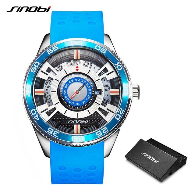2019 SINOBI Car Dashboard Speed New Creative Watch Men Luxury Brand Silicone Band 100% Stainless Steel Men Wristwatches Clock