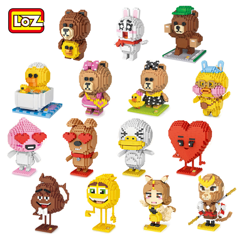 Loz 9215 Cartoon Deer Animal Monster Girl Figure 3d Model Diy Nano Blocks Bricks Assembly Diamond Mini Building Toy Gift Blocks